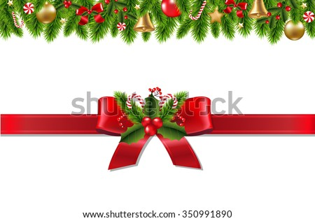 Vintage Christmas Border With Gradient Mesh, Vector Illustration