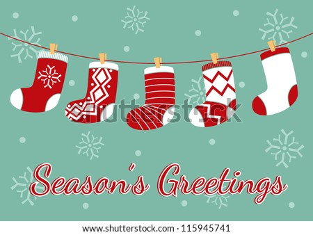 Vintage Christmas Card Socks Vector Background