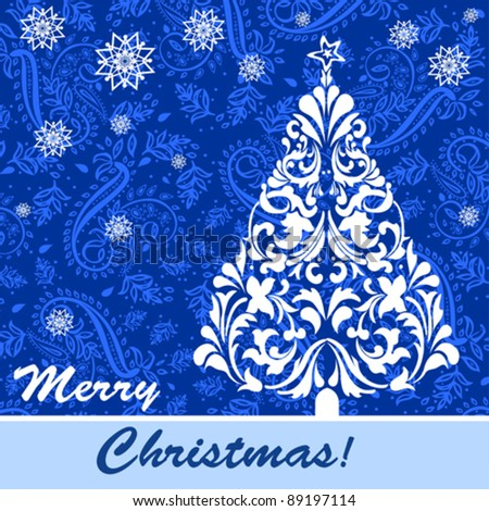 Vintage Christmas card. Blue template with Christmas tree. Vector Illustration