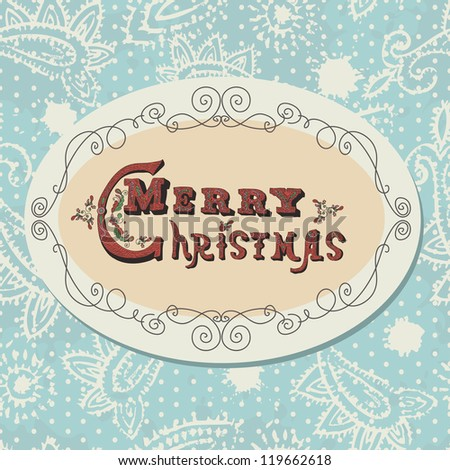 Vintage Christmas card. Christmas lettering in retro style. Can be used separately from background - stock vector