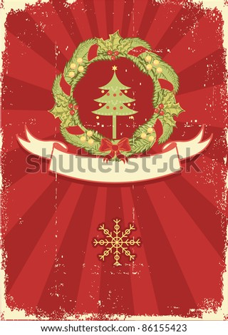 Vintage Christmas card for text with traditional wreath and grunge elements