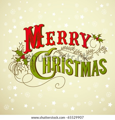 Vintage on Vintage Christmas Card  Merry Christmas Lettering Stock Vector
