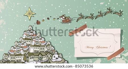 vintage christmas card Santa Claus in sleigh over cityscape