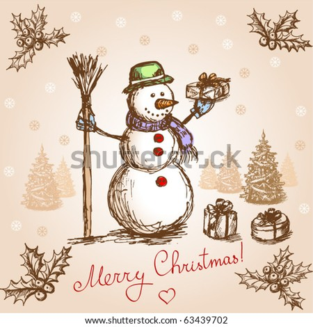 Vintage christmas card. Vector