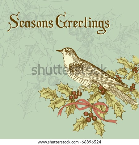 vintage christmas card with a bird