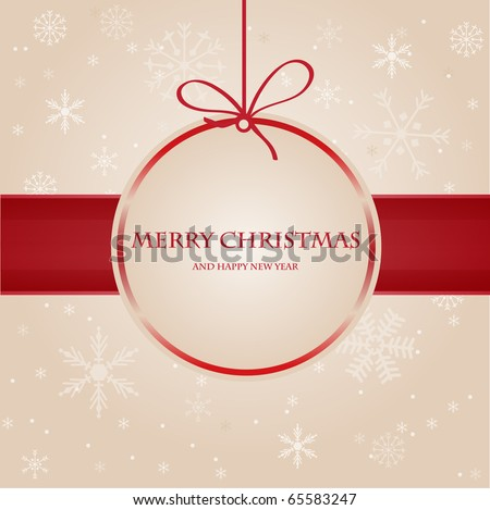 Vintage christmas card with beige bow - stock vector