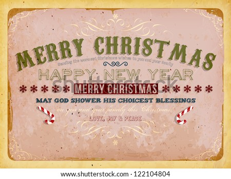Vintage Christmas Card with candy canes and grunge background for Xmas invitation design, eps10 illustration - stock vector