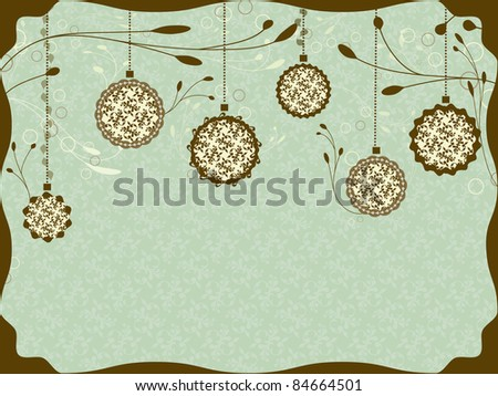 Vintage Christmas card with Christmas balls #84664501