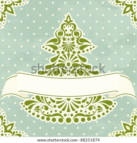 Vintage Christmas card with Christmas tree (eps10);  jpg version also available