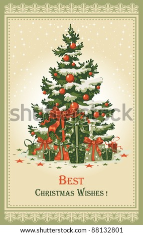 Vintage Christmas card with gifts and spruce in the snow