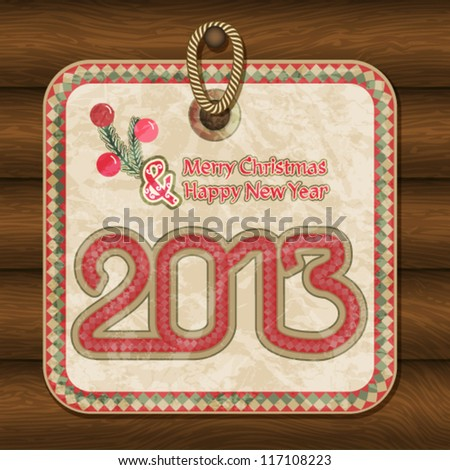 Vintage Christmas card with handwritten letters - stock vector