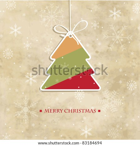 Vintage christmas card with multicolored stripped  tree and snowflakes