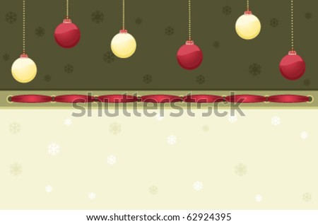 Vintage Christmas card with red and golden baubles. Vector illustration saved as EPS AI 8, no filters, easy print.