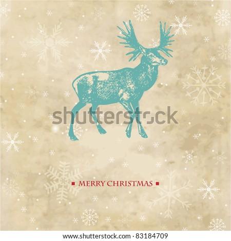 Vintage christmas card with reindeer and snowflakes