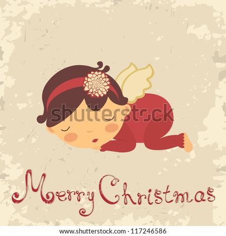 Vintage Christmas card with sleeping newborn angel
