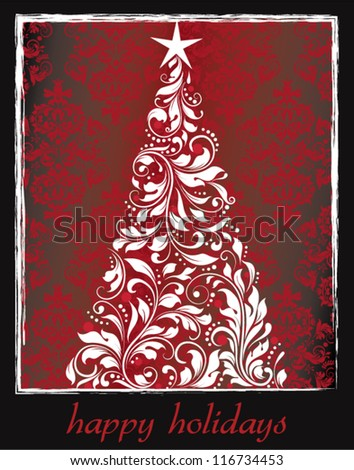 vintage christmas card with tree