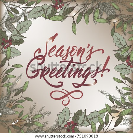 Vintage Christmas color decorative template with mistletoe, pine branches and holiday brush lettering on vintage background. Great for greeting cards and holiday design.