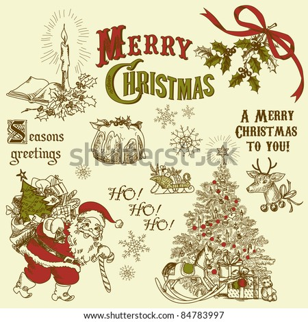 Vintage Christmas doodles - stock vector