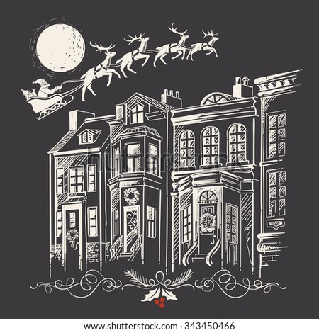 Vintage Christmas Drawing: Doodle of Holiday Decorated Facades and Contour of Deer Team with Santa Claus, Hurtling on the Lunar Sky