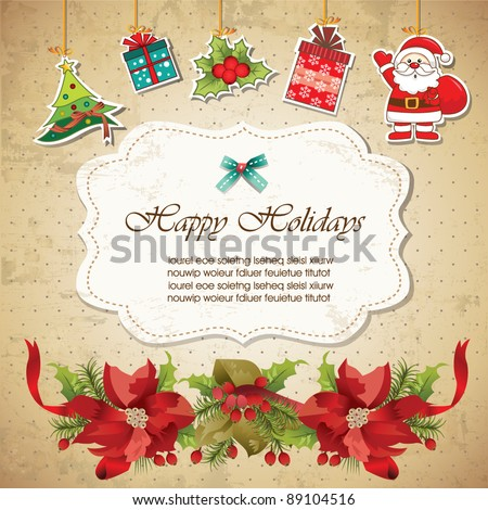 Stock Photo Vintage christmas frame background 02