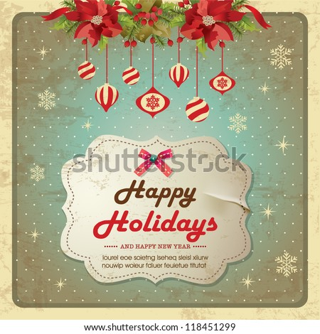 Vintage christmas frame background with poinsettia flowers and baubles