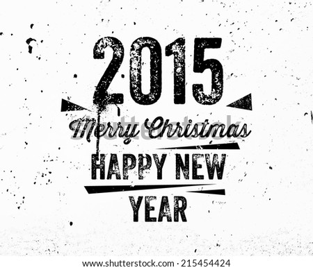 vintage christmas graffiti label concrete texture wall happy new year 2015 and merry christmas