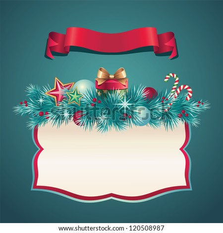 vintage Christmas greeting banner - stock vector