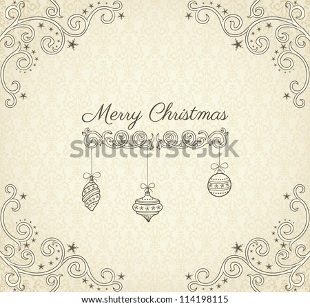 Vintage Christmas greeting card on beige background