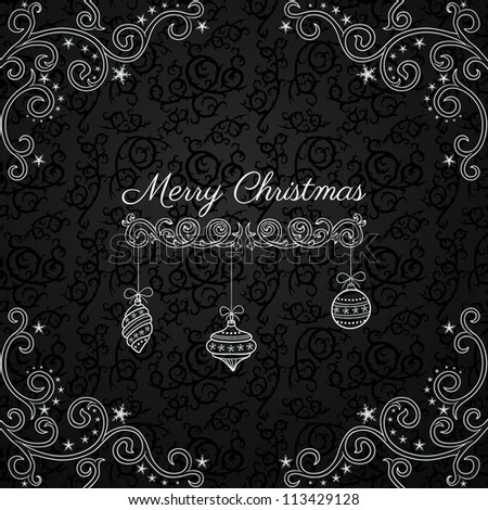 Vintage Christmas greeting card on dark pattern