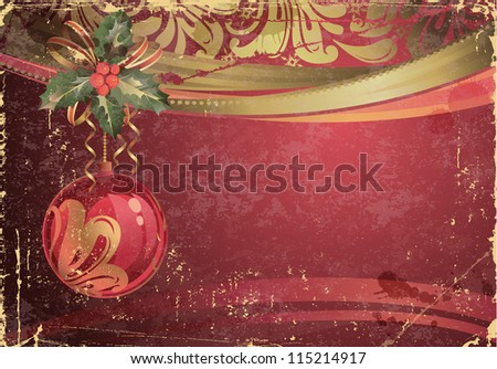 vintage Christmas greeting-card with evening ball