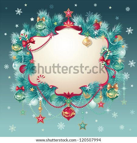 vintage Christmas greeting title banner - stock vector