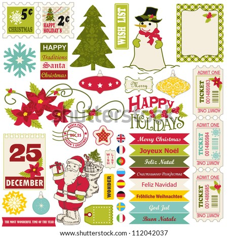 Christmas texture, icons, background