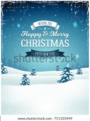 Vintage Christmas Landscape Background,  Illustration of a retro christmas landscape background, with firs, snow and elegant banners for winter and new year holidays