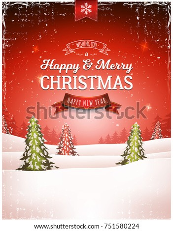 Vintage Christmas Landscape Background/ Illustration of a retro christmas landscape background, with firs, snow and elegant banners for winter and new year holidays
