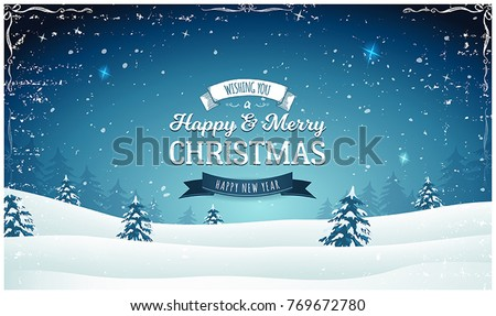 Vintage Christmas Landscape Wide Background/ Illustration of a retro christmas wide landscape background, with firs, snow and elegant banners for winter and new year holidays