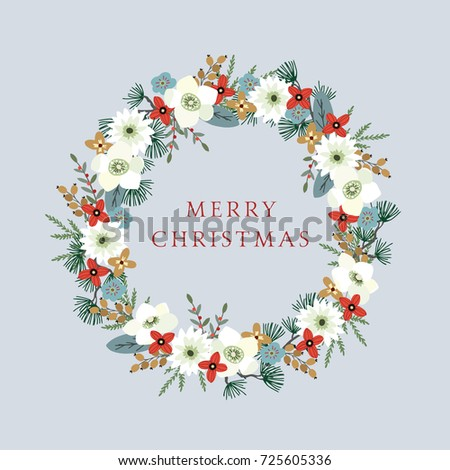vintage christmas new year greeting card invitation with illustration of decorative floral wreath made