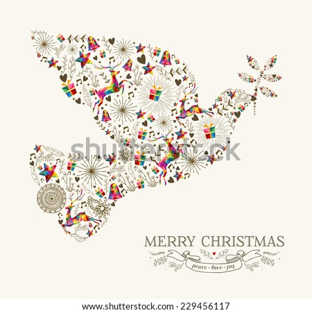 Vintage Christmas peace dove shape with colorful reindeer and retro label greeting card. EPS10 vector file organized in layers for easy editing.