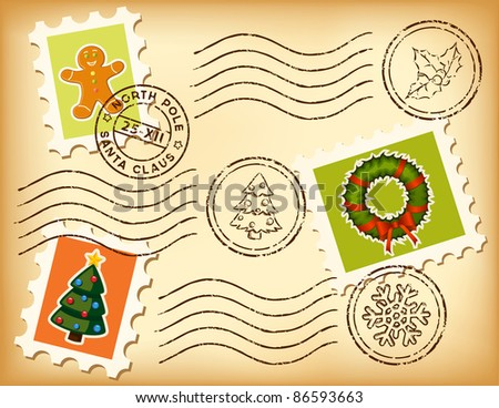 Vintage Christmas postage set on old paper. Marks and stamps