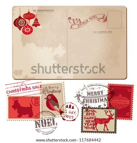 Vintage Christmas Postcard and Stamps for design invitation congratulation scrapbook in vector