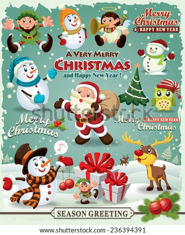 Stock Photo Vintage Christmas poster design Christmas design element