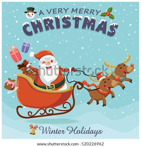 Stock Photo Vintage Christmas poster design with owl Santa Claus with sleigh and reindeer characters.