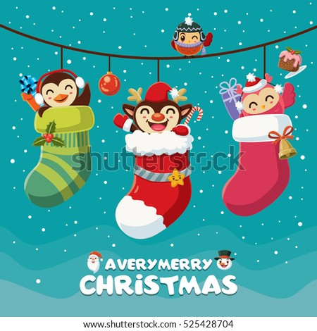 Stock Photo Vintage Christmas poster design with reindeer, penguin, owl characters.
