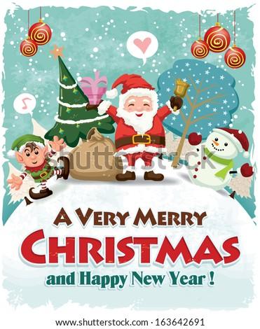 Stock Photo Vintage Christmas poster design with Santa Claus, elf & snowman