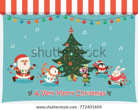 Vintage Christmas poster design with vector Santa Claus, elf, snowman, rabbit, penguin characters.