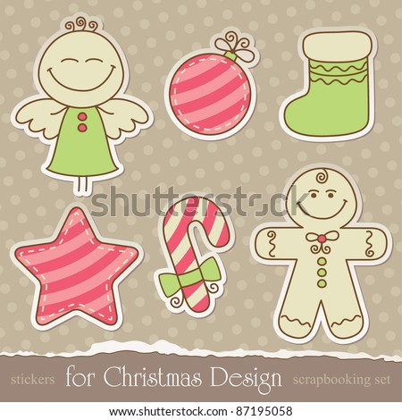 vintage christmas scrapbook elements on old wallpaper. vector set - stock vector