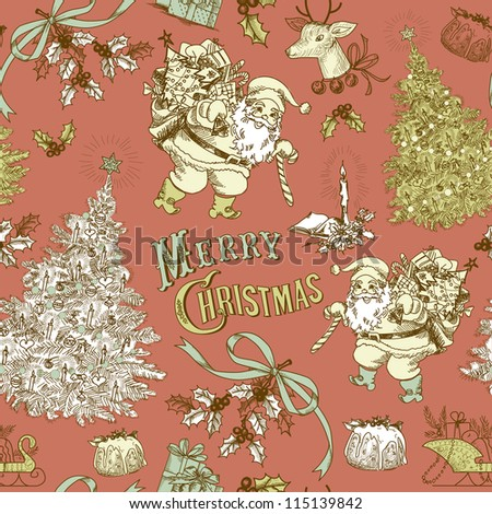 Vintage Christmas seamless pattern - stock vector