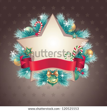 vintage Christmas star shape ribbon banner - stock vector
