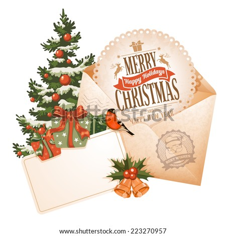 Vintage Christmas still life with envelope greeting card and other winter holiday objects Vector illustration isolated on white background