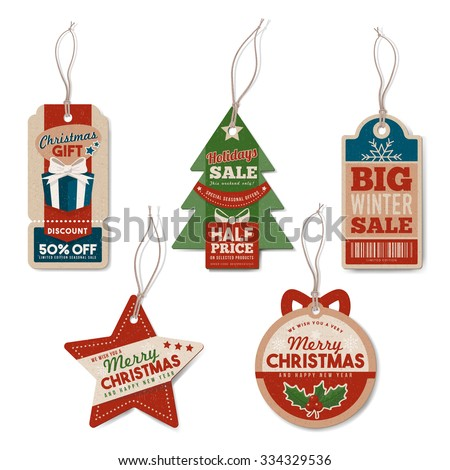 vintage christmas tags set with