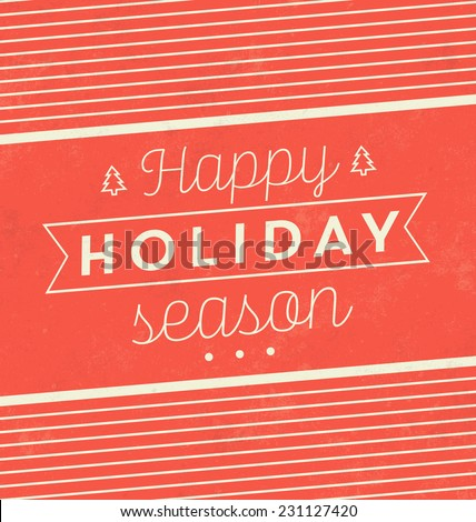 Vintage Christmas Typographic Background / Retro Design / Happy Holiday Season